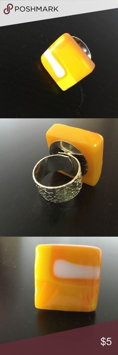 Chucky yellow ring Adjustable band to fit most any size.  Homemade glass jewelry Jewelry Rings