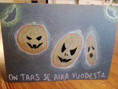 Halloweenkortti. Pojat piirsi ja väritti kurpitsat ja äiti sai vapaat kädet jatkaa. Lopputulos on aika vinkeä. 😊