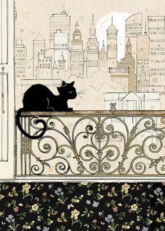 City Cat - Bug Art greeting card