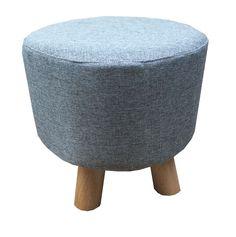 New Grey/Denim Colour Luxury Wooden Footstool Ottoman Round Pouffe Stool Wooden Leg Padded Seat. Can be used as pouffe stool, footstool, ottoman, children stool, sofa tea stool. Wooden Footstool, Round Ottoman, Kids Stool, Ottoman Stool, Tartan Fabric, Wooden Leg, Natural Linen, Modern