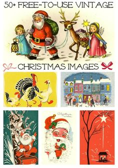 Free to use Vintage Christmas Images from Manneskjur. Great for making a vintage cards or frame and hang up! Merry Little Christmas, Noel Christmas, Retro Christmas, Winter Christmas, Christmas Crafts, Christmas Decorations, Christmas Christmas, Christmas Mantles, Christmas Villages