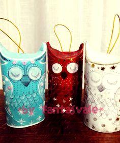 Sleepy Owls Christmas Ornaments - recycled paper rolls projects DIY    Gufetti Dormiglioni per l'albero di Natale - decorazioni natalizie fai da te riciclo creativo    Guarda il TUTORIAL su www.youtube.com/Fantasvale