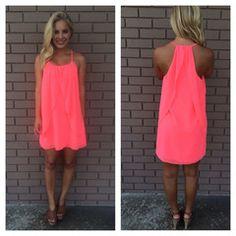 Neon Pink Drape Dress