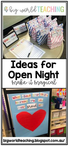 Simple ideas for Open Night or Meet the Teacher Night! Includes link to free resources on Teachers Pay Teachers! Simple ideas for Open Night or Meet the Teacher Night! Includes link to free resources on Teachers Pay Teachers! Open House Kindergarten, Preschool Open Houses, Preschool Classroom, Classroom Activities, Future Classroom, Classroom Setup, Parent Open House, Open House Gifts, Open House Night