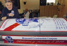 Another drinking related coffin is this Blue Ribbon beer coffin. Do you love beer this much? I don't! kn