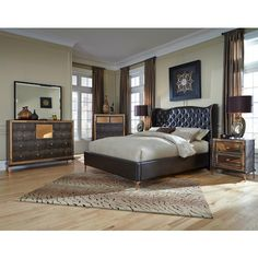 Hollywood Loft Queen Bedroom Group by Michael Amini at Darvin Furniture Upholstered Platform Bed, Upholstered Beds, Platform Bedroom, Queen Bedroom, Bedroom Loft, Mansion Bedroom, Guest Bedroom Decor, Guest Bedrooms, Hollywood Bedroom