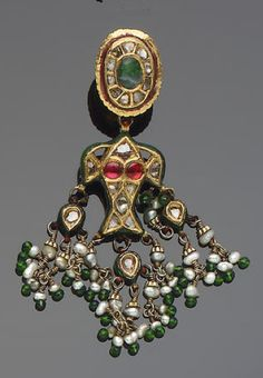 A Pair of gem-set enamelled gold Earrings   India, 19th century,  beryl diamond, seed pearl, and green beads of glass   gem-set. (See Lot 546 for illustration)