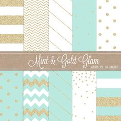 Digital Scrapbooking Digital Papers Instant Download Printable Paper Pack Mint And Gold Glitter Sparkle Chic Digital Paper on Etsy, $3.30