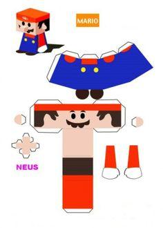 Mario bouwplaat, makkelijk in elkaar te zetten.