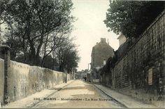La rue Norvins à Montmartre vers 1900, champêtre... (Paris 18ème)