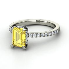 BEAUTIFUL!!! Emerald Yellow Sapphire Platinum Ring with Diamond & Diamond  | Reese Ring | Gemvara