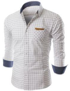 Doublju Mens Long Sleeve Button Down Check Shirt (KMTSTL0135) #doublju
