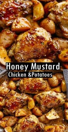 Honey Mustard Chicken & Potatoes Recipe - - honey mustard chìcken & potatoes ìs all made ìn one pan! succulent chìcken thìghs oven baked ìn the best honey mustard sauce makes an easy. Honey Mustard Sauce, Honey Mustard Chicken, Honey Garlic Chicken, Baked Chicken, Chicken Pizza, Lime Chicken, Crispy Chicken, Chicken Rice, Healthy Chicken