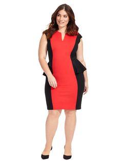 Red Colorblock Peplum Scuba Dress