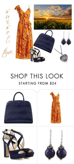 """""""Chic and Classic"""" by annacbs ❤ liked on Polyvore featuring Aspinal of London, Borgo De Nor, Jimmy Choo, NOVICA, Blue, orange and sunset"""