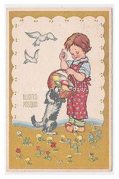PMCE P208/12 cartolina augurale bambino uova colorate cane colombe Pasqua 1954