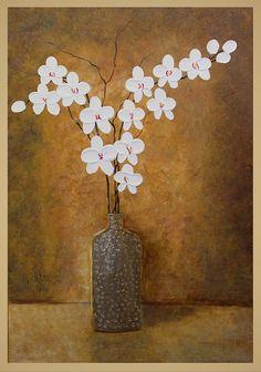 Large 36 Original Abstract Impasto Flower Painting  by ReginaArt, $185.00