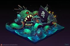 ArtStation - Isometric Pirate Ship, Sephiroth Art