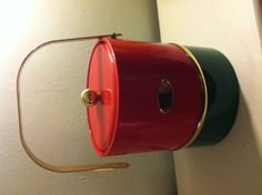 Hollywood Regency GEORGES BRIARD red green brass ice bucket   as is