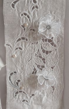Detail. Wedding stole. Made from pure dupioni silk with cut work embroidery. Embellished with pearls and organza flowers