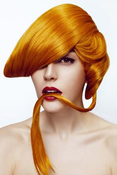 This is the season to be bold and funky with innovative like this amazing orange colored art! Fancy Hairstyles, Creative Hairstyles, Vintage Hairstyles, Wig Hairstyles, High Fashion Hair, Wacky Hair, Vibrant Hair Colors, Tape In Hair Extensions, Fantasy Hair
