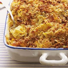 This cheesy dish is similar to the potluck classic known as poppyseed chicken casserole, or Ritz cracker chicken casserole. For even more variations, experiment with adding your favorite veggies, substituting different cheeses, or swapping in low-fat sour cream to reduce the calorie load.
