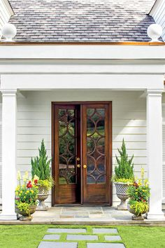 Would love to have this style door on cabinets in insets at Sanctuary.Front Door Style: Classic French Door Entry