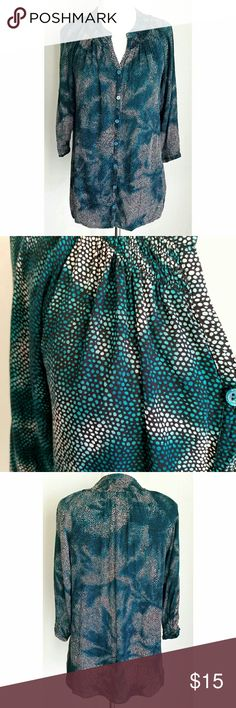 """The Limited Green & White Tie-Dye Dot Tunic Shirt Teal green tie-dye over black and white dot pattern. 3/4-length sleeves. Green pearlized buttons down front. Total length (shoulder to bottom hem)- 26.5"""", Sleeve length (shoulder seam to cuff)- 19"""", Bust- 38"""", Waist- 38"""", Hip- 40"""". Hand wash, line dry. 100% rayon. Gently used condition (no stains, no tears, but shows slight wear from washing) The Limited Tops Tunics"""