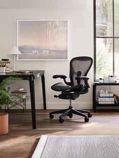 Order your Aeron Chair. An original design by Bill Stumpf and Don Chadwick, this ergonomic office chair is manufactured by Herman Miller. Plywood Furniture, Design Furniture, Office Furniture, Office Chairs, Arne Jacobsen, Chair Eames, Work Chair, Work Desk, Miller Homes