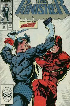 1988 Marvel Comic Book: The Punisher { Daredevil app. Marvel Comic Character, Marvel Comic Books, Marvel Dc Comics, Anime Comics, Comic Books Art, Comic Art, Marvel Fan, Comic Book Artists, Comic Book Characters