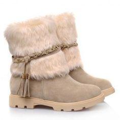 Cute Plush and Tassels Design Women's Snow Boots