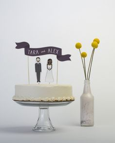 Wedding Cake Topper Set  Custom Cake Banner No. 2 / by ReadyGo, $30.00