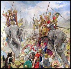 The Battle of Asculum (279 BC), elephants of king Pyrrhus of Epirus.