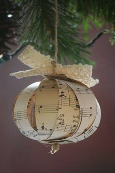 Sheet Music Ornaments - photos are self-explanatory! Love this idea! Noel Christmas, Homemade Christmas, Christmas Projects, All Things Christmas, Winter Christmas, Holiday Crafts, Holiday Fun, Christmas Ornaments, Christmas Countdown
