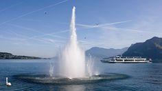 Beim Springbrunnen sind die verschiedenen Wasserdüsen manuell von den Besuchern programmierbar.