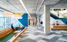 Cisco uses abstract wall graphics for office branding. Fun and colourful design for a feature wall.