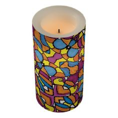 Modern Abstract Colorful Pattern Flameless Candle - modern gifts cyo gift ideas personalize