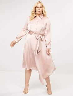 Plus Size Pink Shirt Dress | Lane Bryant Asymmetrical Midi Dress