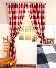 Grommet-Top Checkered Window Curtain
