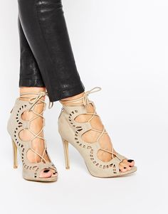 74a3314c2a AX Paris Annabel Ghillie Lace Up Heeled Sandals at asos.com