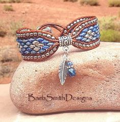 "Charm Wrap Bracelet-Blue Beaded Bracelet-Leather Wrap-Woman Gift-Jewelry Set-OOA… Charm Wrap Armband-blau Perlen Armband-Leder Wrap-Frau Geschenk-Schmuck-Set-OOAK Wrap-Sondergröße-""The Charming One"" in Picasso blau (PBL) Leather Cuffs, Leather Jewelry, Beaded Jewelry, Jewelry Bracelets, Handmade Jewelry, Leather Bracelets, Leather Bracelet Tutorial, Beaded Leather Wraps, Handmade Wire"