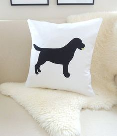 Black Lab With Tennis Ball Pillow Cover, Labrador Retriever Dog Silhouette Appliqué - White - Chocolate or Black Lab - 18x18 -  20x20 on Etsy, $65.00