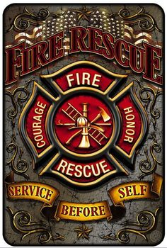 Beautiful Aluminum Fire Rescue Sign! - FREE Shipping! - Show Off Your Pride with this on your wall! - 8 inches x 12 inches Want a matching shirt? Go Here! Note: There are no returns on signs