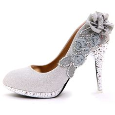 Flower and Rhinestone High Heel Shoes for Women(N1118)