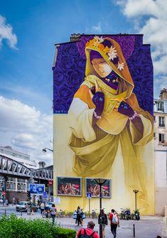 Quatre ans après son chef d'œuvre avenue d'Italie, Inti revient dans les rues du 13è arrondissement de Paris pour une nouvelle œuvre magistrale ! Comme Shepard Fairey, Invader, Faile ou Roa (pour le moment), l'artiste chilien a répondu favorablement à l'invitation de Mehdi Ben Cheikh de la galerie I