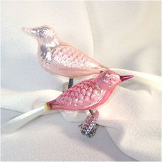 Pink mercury glass birds vintage