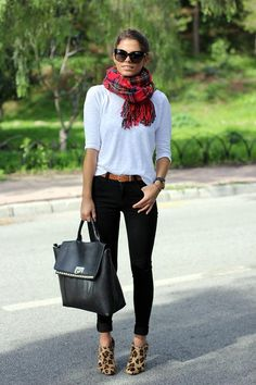 so simple and chic - love the plaid and leopard