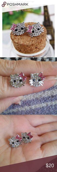 Earrings🐱 NWT....Hello Kitty crystal stud earrings,on surgical steel post....lead free...allergy free🐱🐱🐱 Audreys Closet  Jewelry Earrings