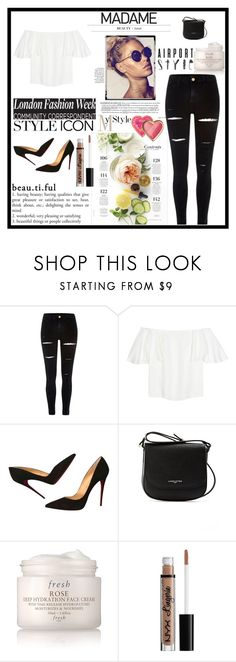 """""""Untitled #57"""" by nusreta-bjelic ❤ liked on Polyvore featuring River Island, Valentino, Christian Louboutin, Lancaster, Martha Stewart, Fresh, NYX and Too Faced Cosmetics"""