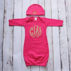 Monogrammed Baby Gown and Beanie - Boy or Girl - Pink Green - Newborn - Baby Gift - Embroidered - Personalized